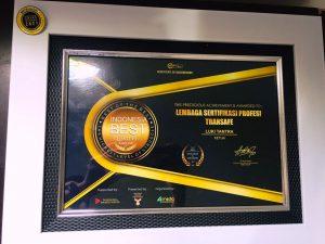 Sertifikat Penghargaan Award LSP Transafe